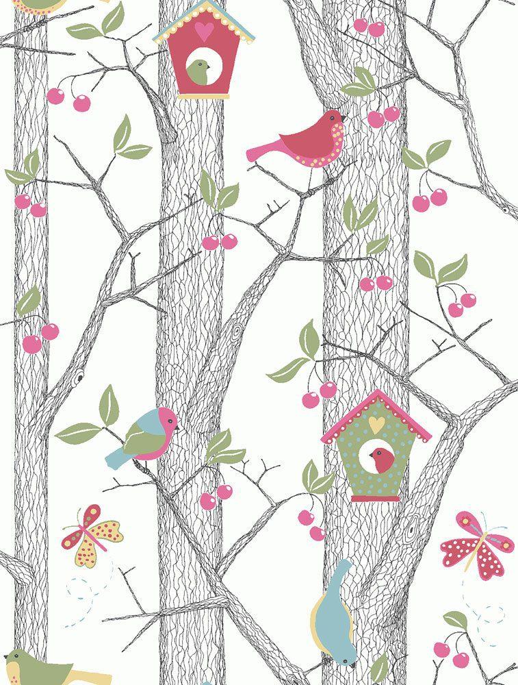 6261 BoråsTapeter Behang kinderkamer Cherry Friends red