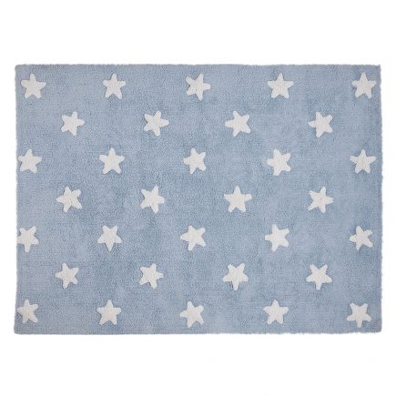 Lorena Canals vloerkleed katoen kinderkamer blue stars white
