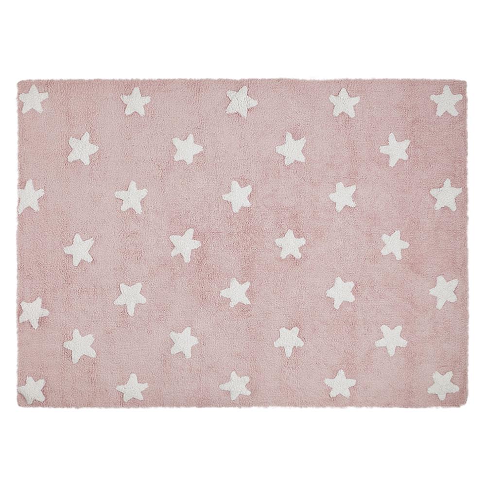 Lorena Canals vloerkleed katoen kinderkamer pink stars white