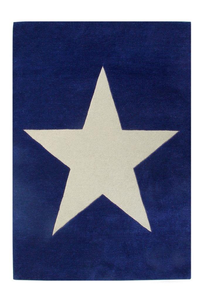 Lorena Canals – Wollen vloerkleed – Navy Star – 140 x 200 cm