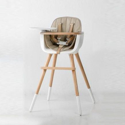 Micuna - Kinderstoel OVO beige zitting en leatherlook natural tuigje