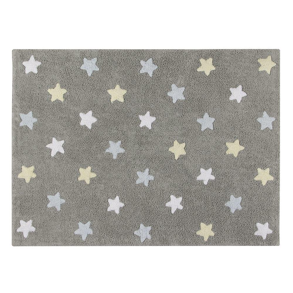 Lorena Canals – Vloerkleed met sterren – grey & blue – 120 x 160 cm