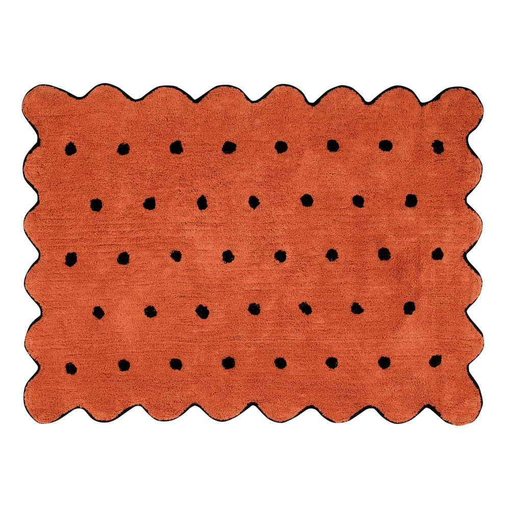 Kindervloerkleed Biscuit in terracotta