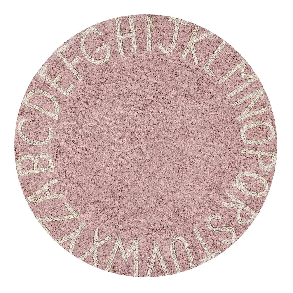Rond vloerkleed ABC in pink natural