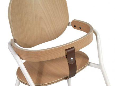 Kinderstoel TIBU white met beugel in beuken en leren strap