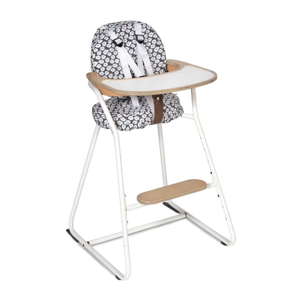 Kinderstoel TIBU white, zitting in osami navy met wit tuigje