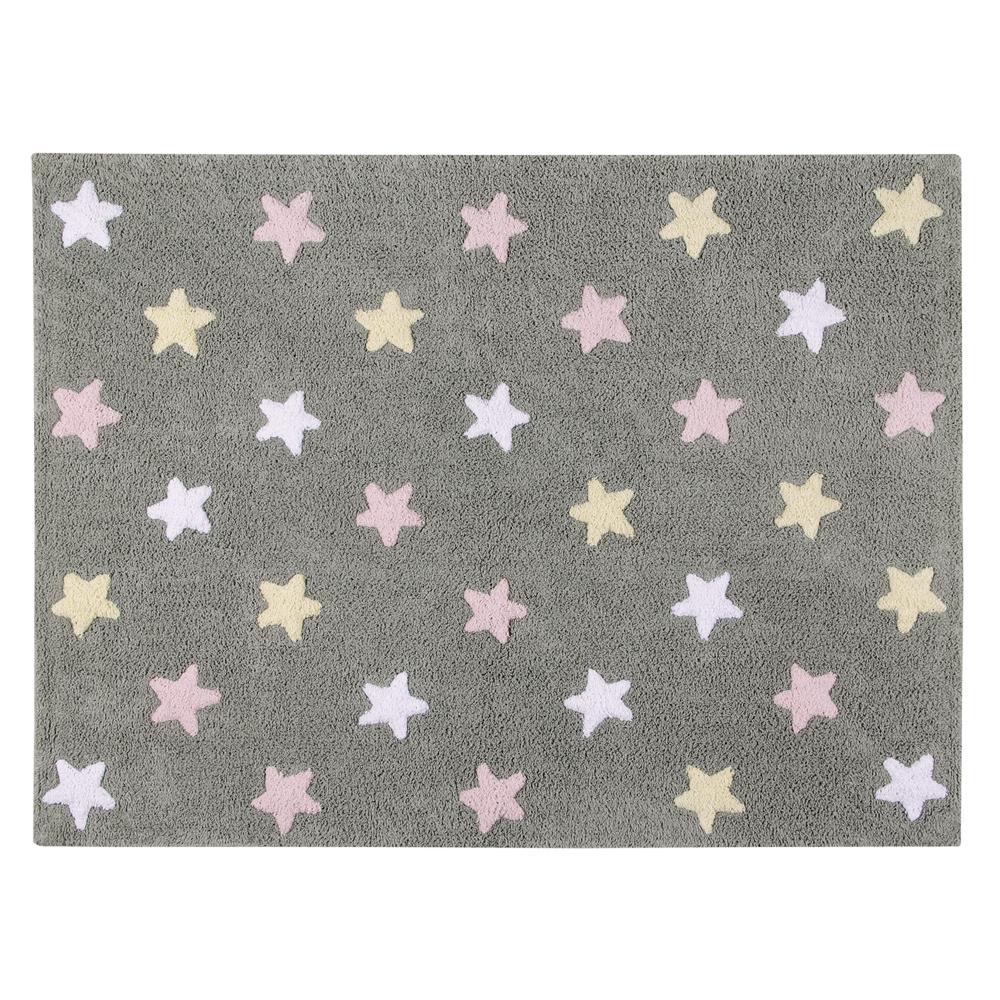 Lorena Canals   Vloerkleed met sterren Tricolor Star grey pink