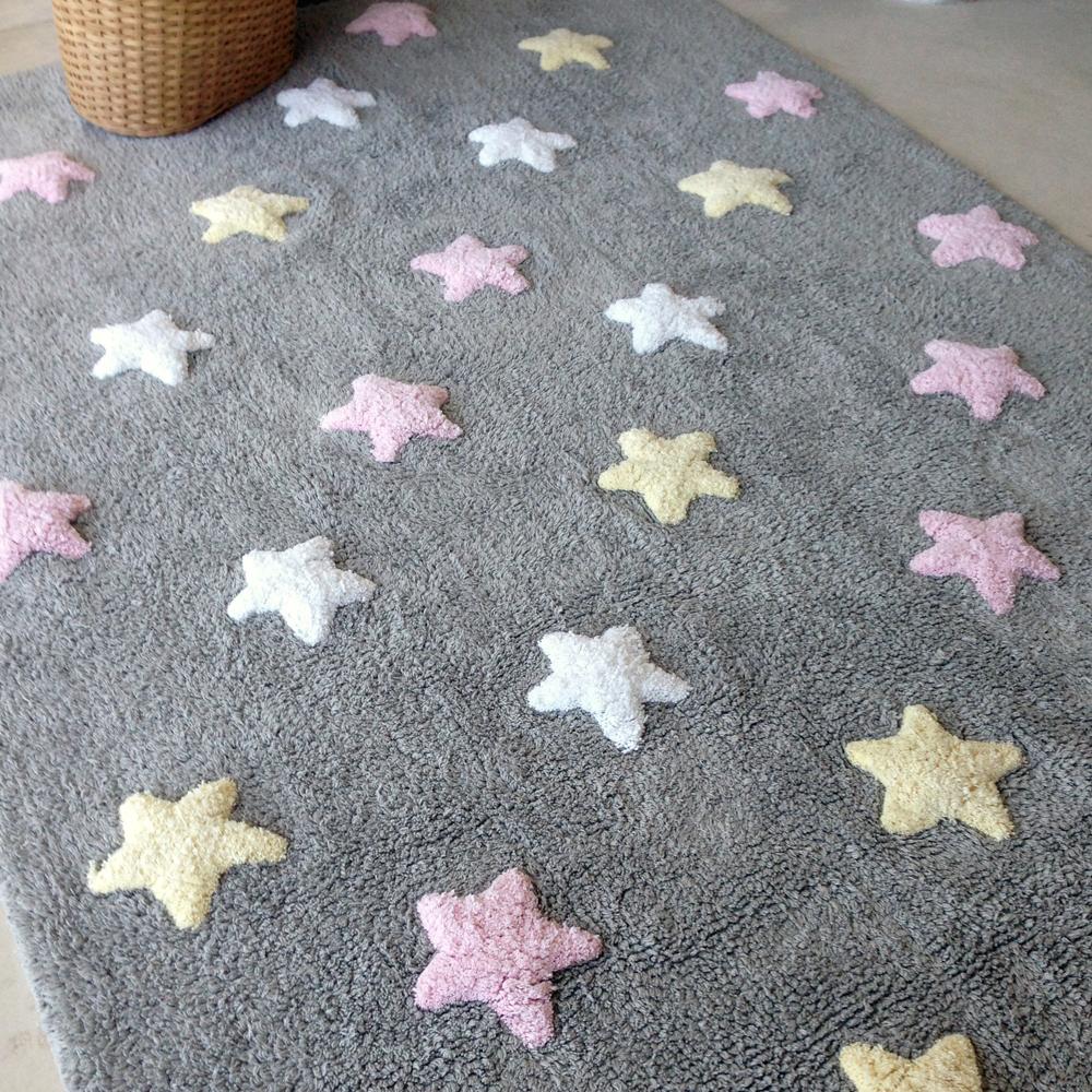 Lorena Canals   Vloerkleed met sterren Tricolor Star grey pink3
