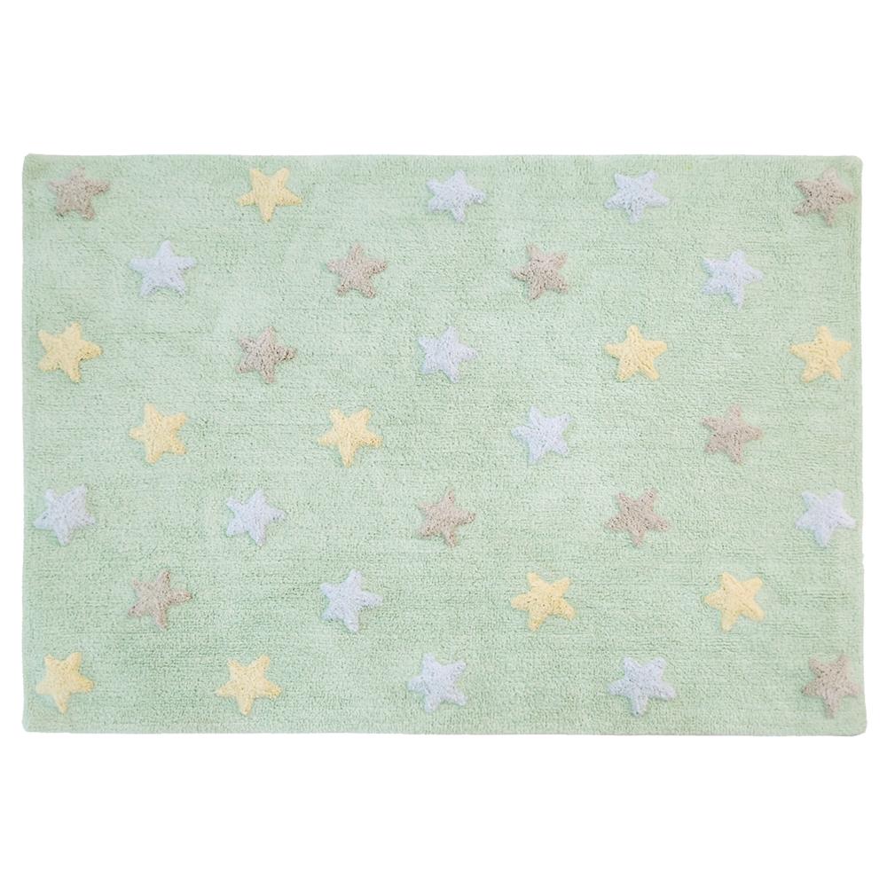 Lorena Canals   Vloerkleed met sterren Tricolor Star soft mint