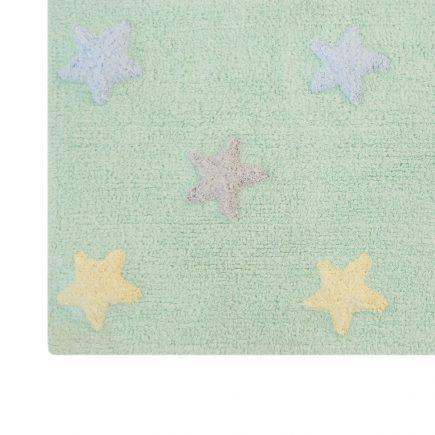 Lorena Canals   Vloerkleed met sterren Tricolor Star soft mint2
