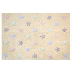 Lorena Canals   Vloerkleed met sterren Tricolor Star vanilla
