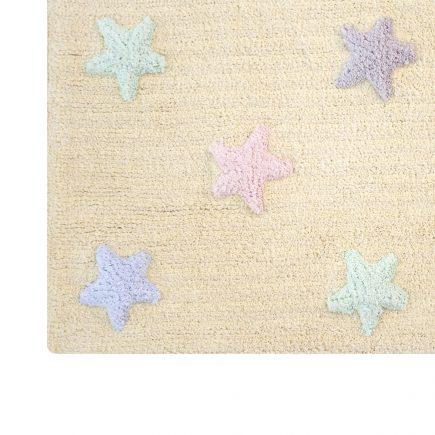 Lorena Canals   Vloerkleed met sterren Tricolor Star vanilla2