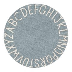 Rond vloerkleed ABC in blue natural