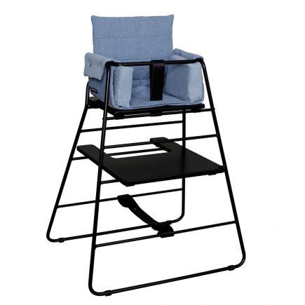 BudtzBendix Kinderstoel black met black strap en block denim