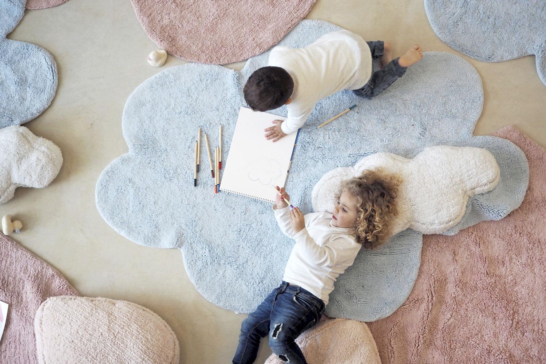 Lorena Canals vloerkleed babykamer Dream 110 x 170 cm blue