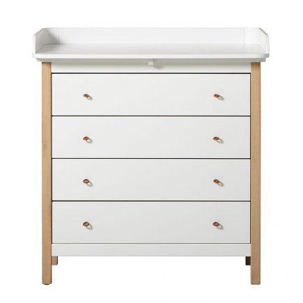 Wood Nursery dresser 4 drawers white/oak with nursery top
