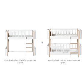 Oliver Furniture – Conversie Kit – Wood Mini+ Low loft Bed naar Low Bunk Bed – Wit/Eiken