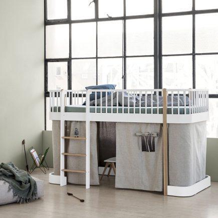 Oliver Furniture low Loft bed Wood white