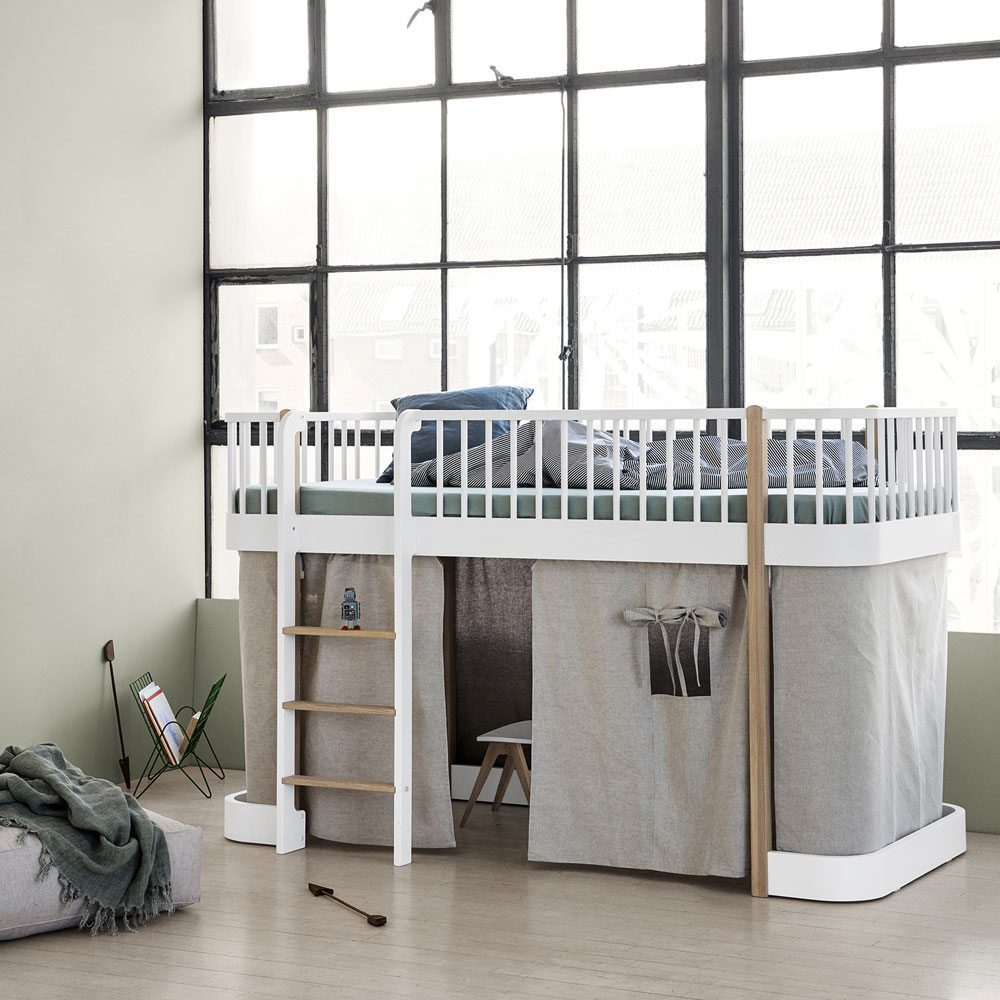 Oliver Furniture low Loft bed Wood white