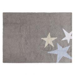 Lorena Canals Vloerkleden babykamer 3 Stars cotton grey blue