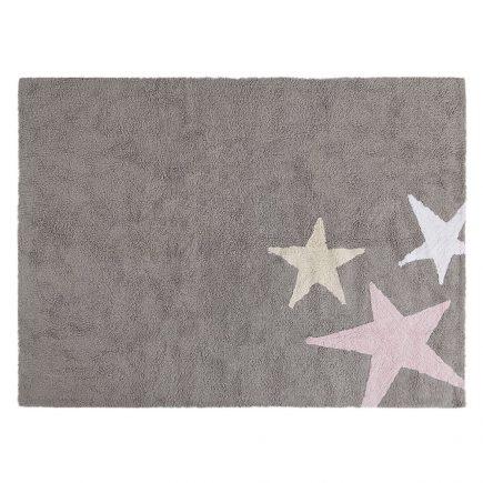 Lorena Canals Vloerkleden babykamer 3 Stars cotton grey pink