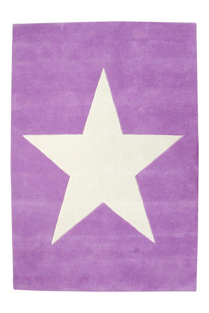 Lorena Canals wollen vloerkleed kinderkamer Star purple vanille