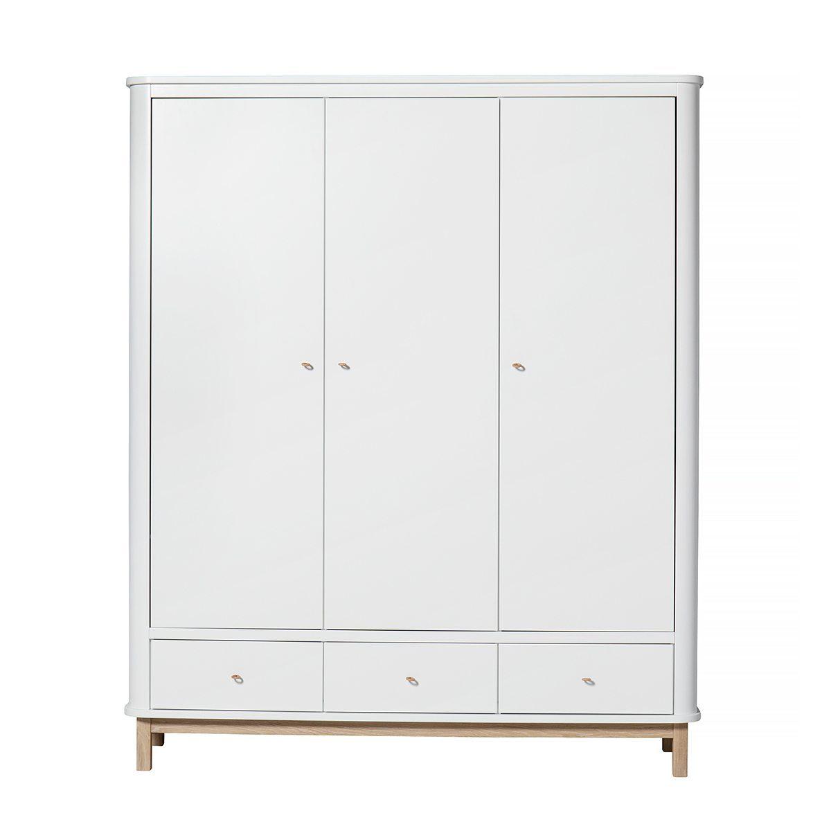 Oliver Furniture – Wood Kinderkledingkast 3 deuren – Wit/Eikenhout