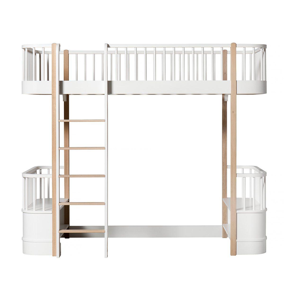 Oliver Furniture – Wood Original Loft Bed – Wit/Eikenhout, 90 x 200 cm