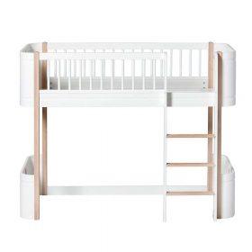 Oliver Furniture – Wood Mini+ Low Loft Bed – Wit/Eikenhout
