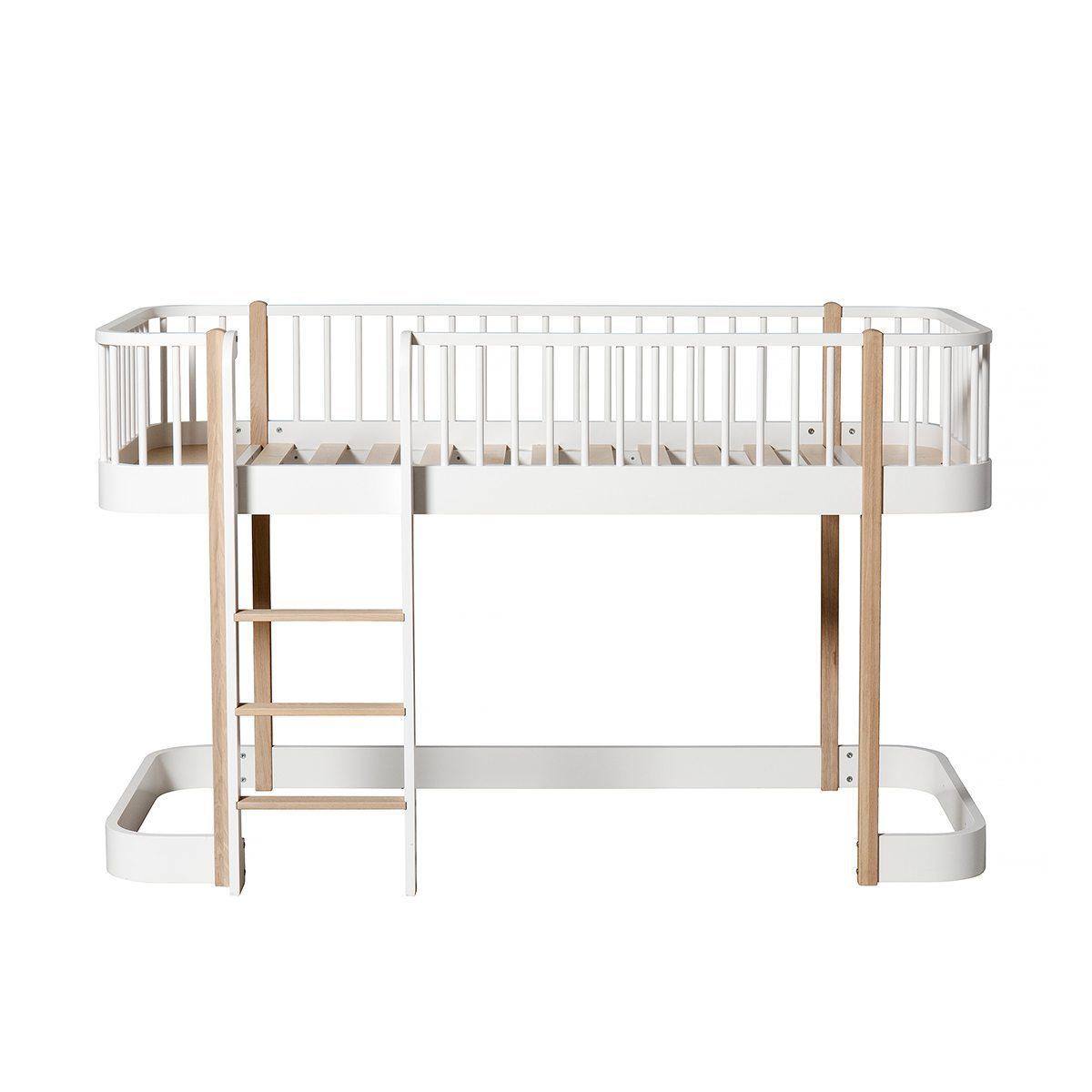 Oliver Furniture – Wood Original Low Loft Bed – Wit/Eikenhout, 90 x 200 cm