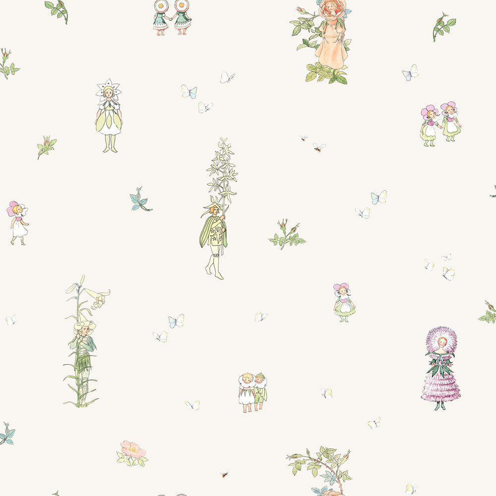 6236 BoråsTapeter Behang kinderkamer Blomsterfesten white