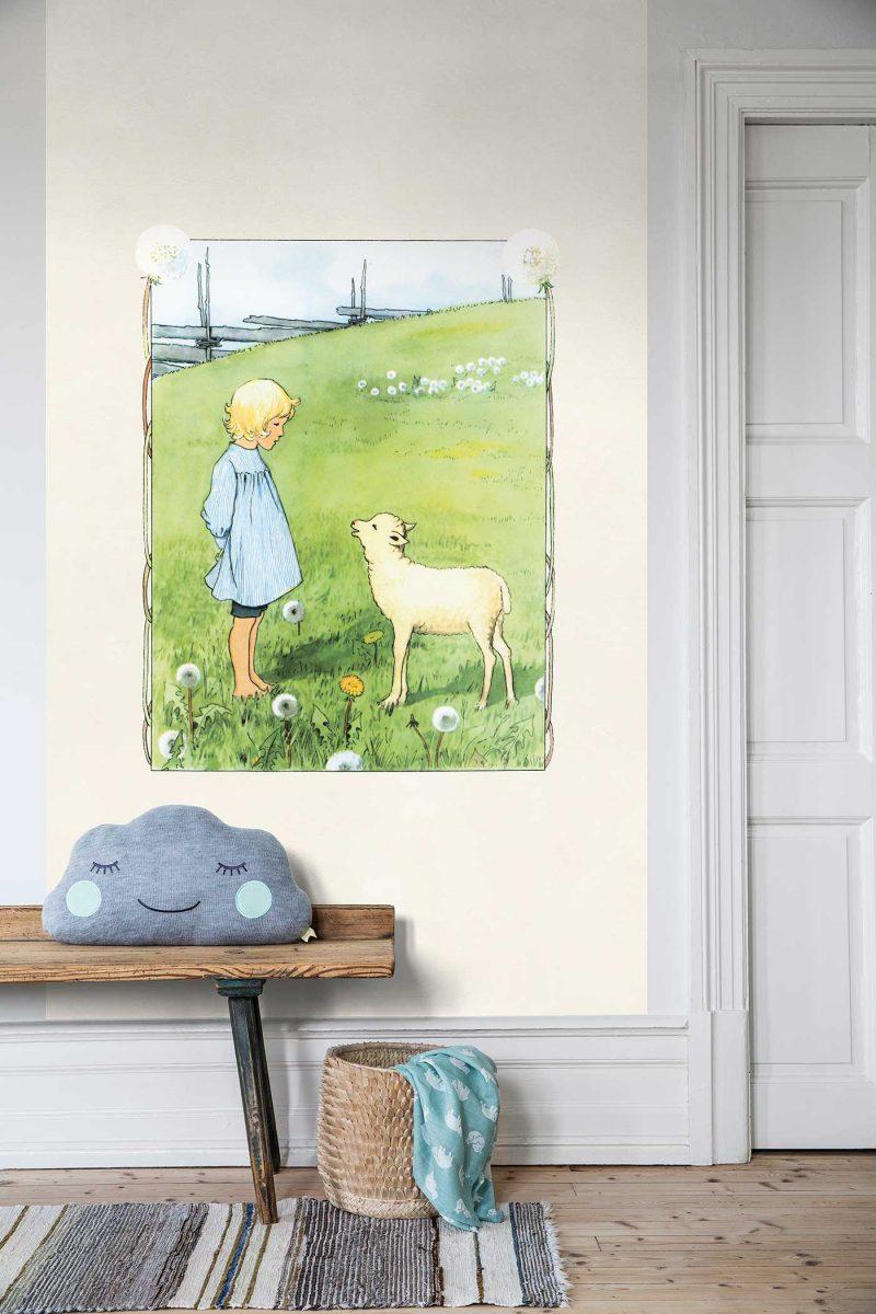 BoråsTapeter – Behang kinderkamer Bä bä vita lamm