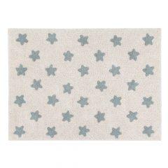 Lorena Canals Kindervloerkleed Stars Natural Vintage Blue