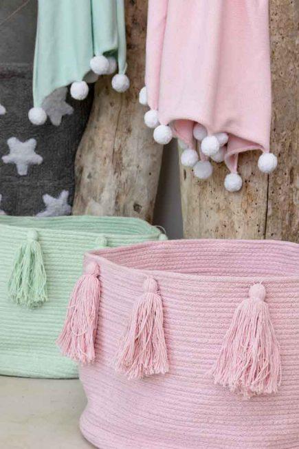 Lorena Canals Opbergmand Tassels soft mint + pink