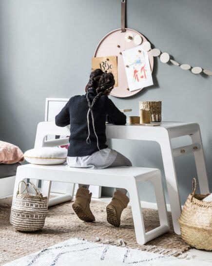 Rafa-kids - B Table en B Bench (90 cm) zonder rugleuning - White