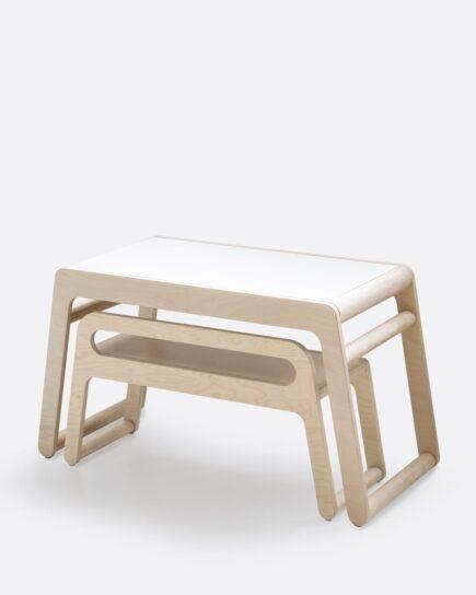 Rafa-kids - B Table Natural i.c.m. B Bench Natural (L90 cm) met Rugleuning
