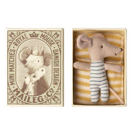 Maileg Baby Mouse Sleepy Wakey in Box Boy 16 8714 01