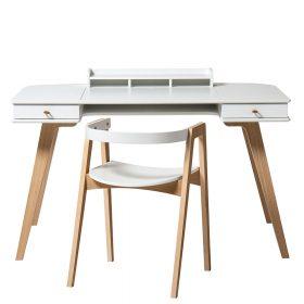 Oliver Furniture – Houten Bureau 66 cm & Stoel Set – Wit/Eikenhout