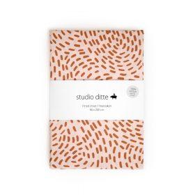 Studio Ditte – Hoeslaken – Flow Roze/Roestbruin – 90 x 200 cm