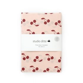 Studio Ditte – Hoeslaken – Kersen Roze Donkerrood – 90 x 200 cm