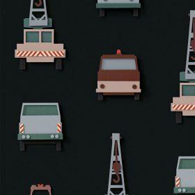 Studio Ditte – Behang Kinderkamer – Kraanwagen Donker