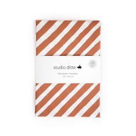 Studio Ditte – Hoeslaken Junior – Strepen Roestbruin – 70 x 150 cm
