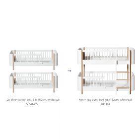 Oliver Furniture – Conversie Kit – Wood Mini+ 2 Junior Bedden maar Low Bunk Bed – Wit/Eiken